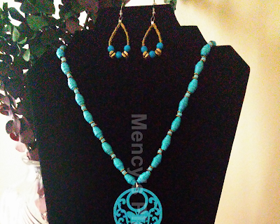 Paper Bead Glass Necklace Set