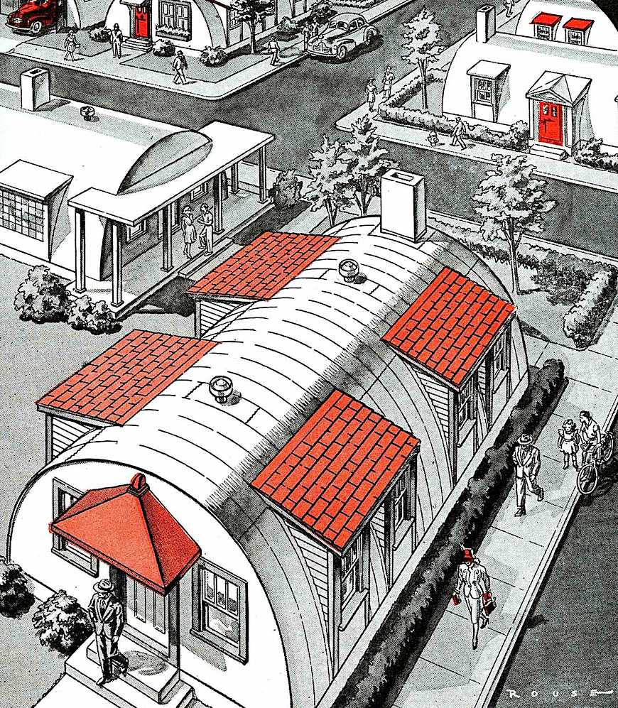 Army surplus Quonset huts for late 1940s civilian homes, a color illustration