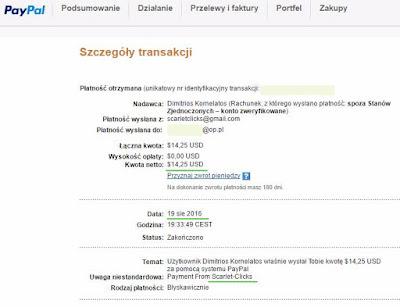 Scarlet-Clicks - dowód wypłaty - zarabianie przez internet