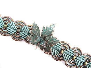 Turquoise leaf micro macrame bracelet by Sherri Stokey of Knot Just Macrame.