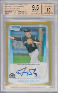 Trevor Story 2011 Bowman Chrome Draft Gold Refractor Autograph /50 Graded Gem Mint BGS 9.5 (10 Auto)