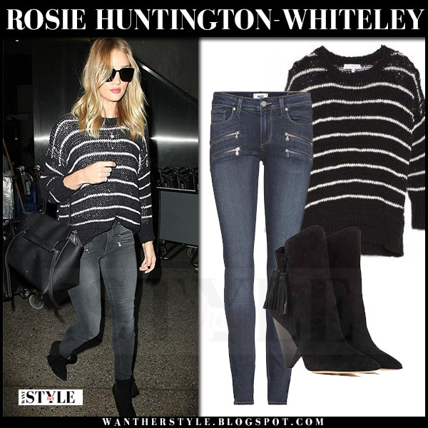 Rosie Huntington-Whiteley in black striped knit bro odessa sweater and skinny grey paige denim jeans what she wore model style