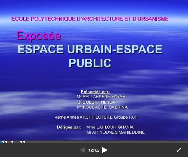 Exposé Espace-urbain Espace public