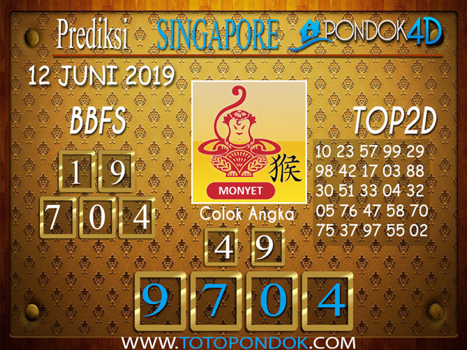 Prediksi Togel SINGAPORE PONDOK4D 12 JUNI 2019