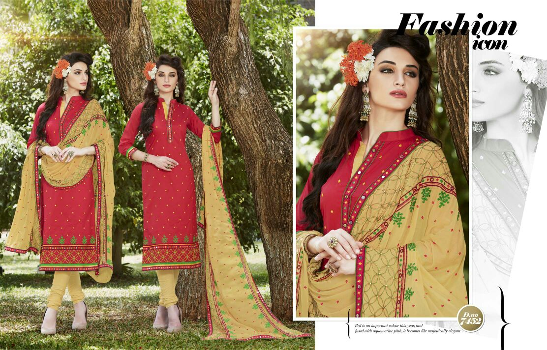 Naaz- Pure Cambric Cotton Printed and Embroidery Work Salawar Suit