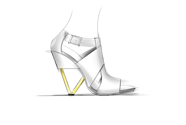 A sketch of a sandal with architectural heel by ABCENSE