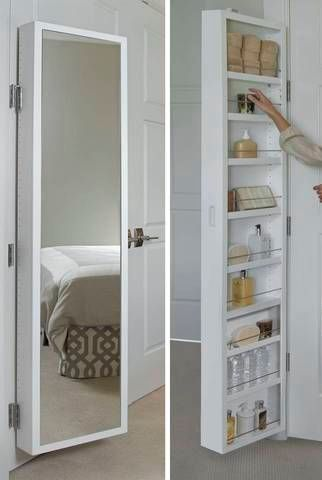 Creative Hidden Storage Cabinet Behind Mirror For Jewelry Makeup And Accessories