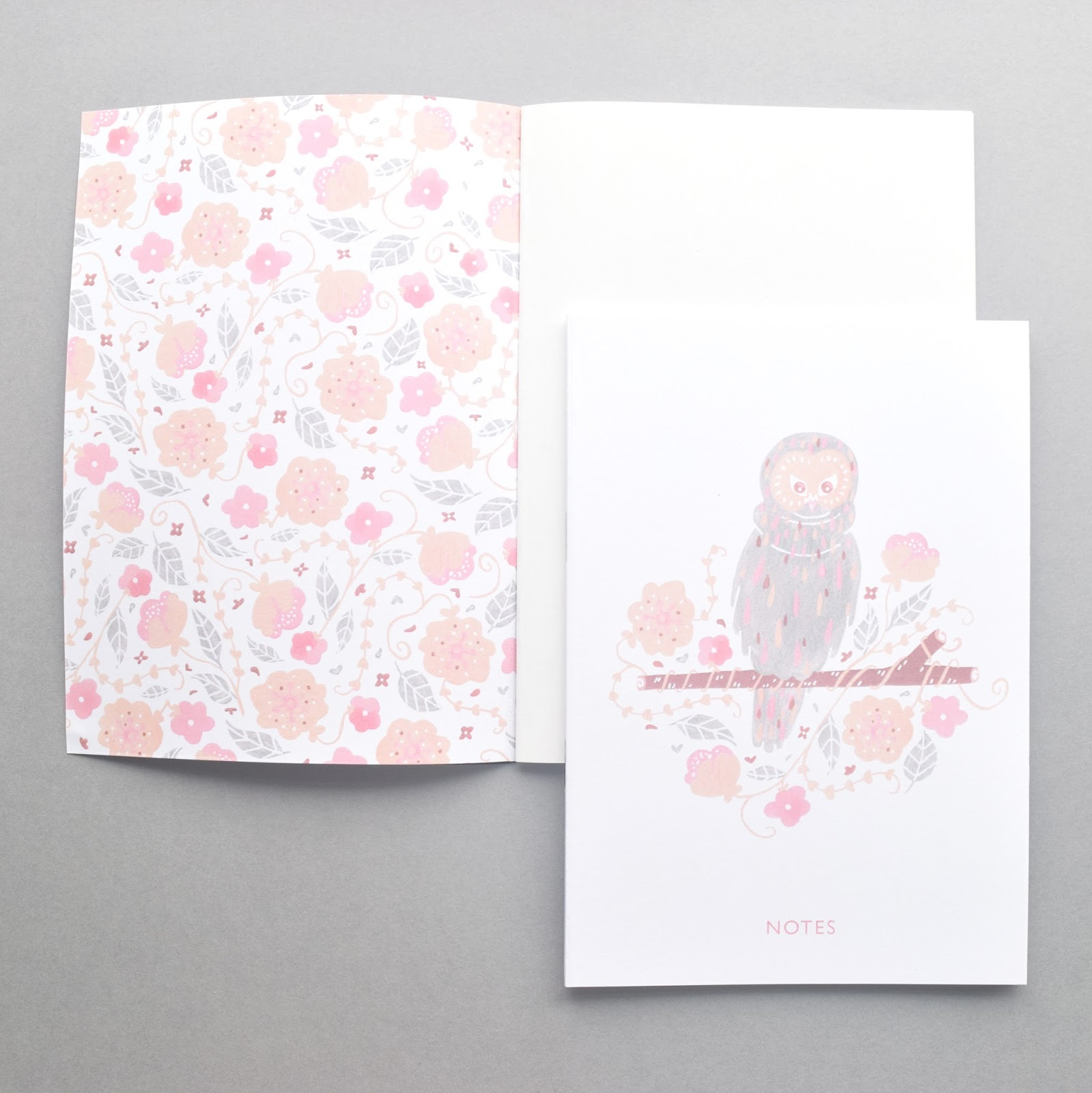 illustrated notebook with a owl and flowers