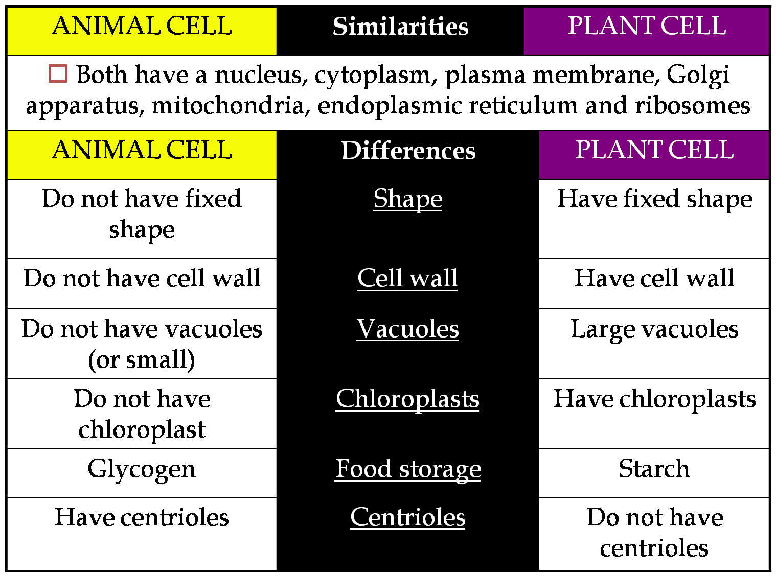 BIOLOGY IS FUN: COMPARISON BETWEEN ANIMAL CELL AND PLANT CELL