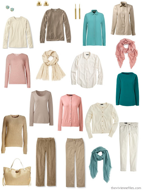 a capsule wardrobe in beige, brown and ivory, with accents of jade, dusty rose and gold