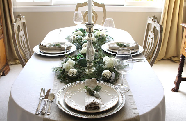 holiday tablescape neutrals natural elements elegant christmas