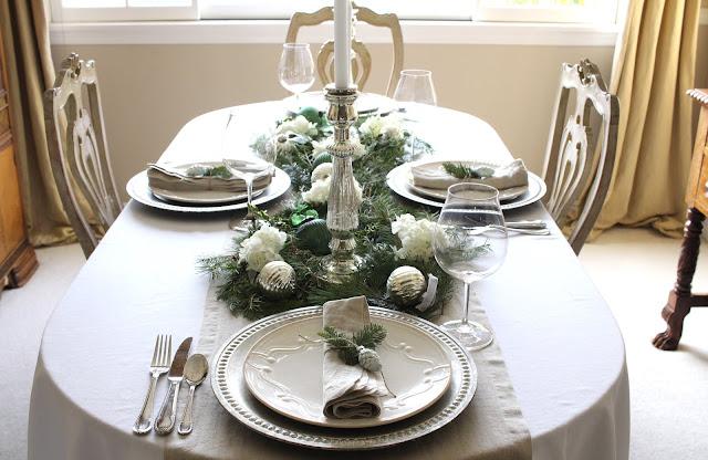 holiday tablescape neutrals natural elements elegant christmas