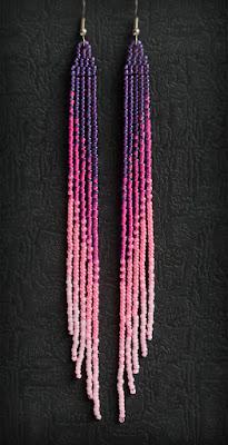 купить очень длинные серьги до плеч стильные бисерные сережки