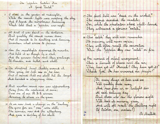 """Scan of """"The Zeppelin catches fire"""" a poem by B. Mallett 1916 - Image from P. Miller"""