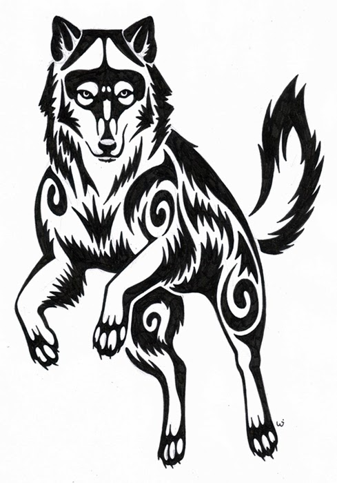 Wolf tribal tattoo stencil