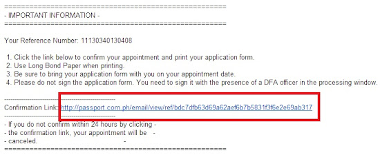 Confirmation email for the Philippine passport appointment application