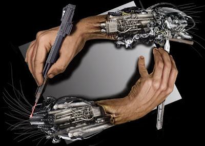 Bir birini üreten robot eller ve kollar paradoksu