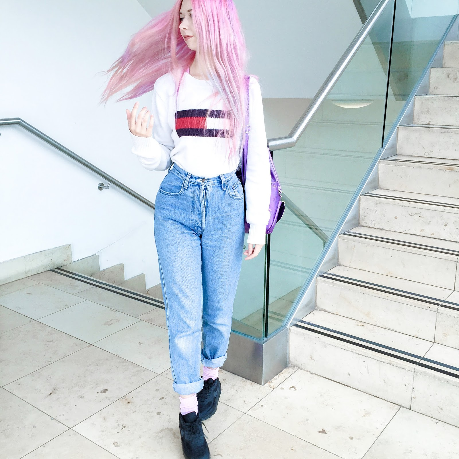 03eaa1806331a SHOPPING OUTFIT. VINTAGE TOMMY HILFIGER JUMPER  CHARITY SHOP MOM JEANS  TOPSHOP  BLACK AIRMAX  OFFICE SOCKS   WE LOVE COLORS