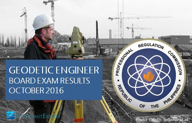 List of Passers: October 2016 Geodetic Engineer board exam results