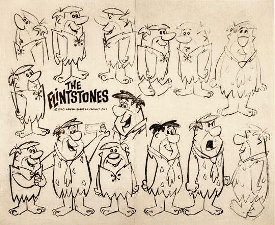 The Flintstones, original hand drawn concept designs