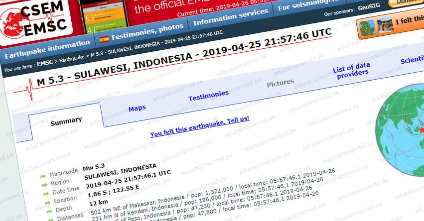 Terremoto en Indonesia de Magnitud 5.3 - Alerta de Tsunami (Hoy Viernes 26 Abril 2019) Sismo - Temblor - Epicentro - Luwuk - Célebes - USGS - www.earthquake.usgs.gov