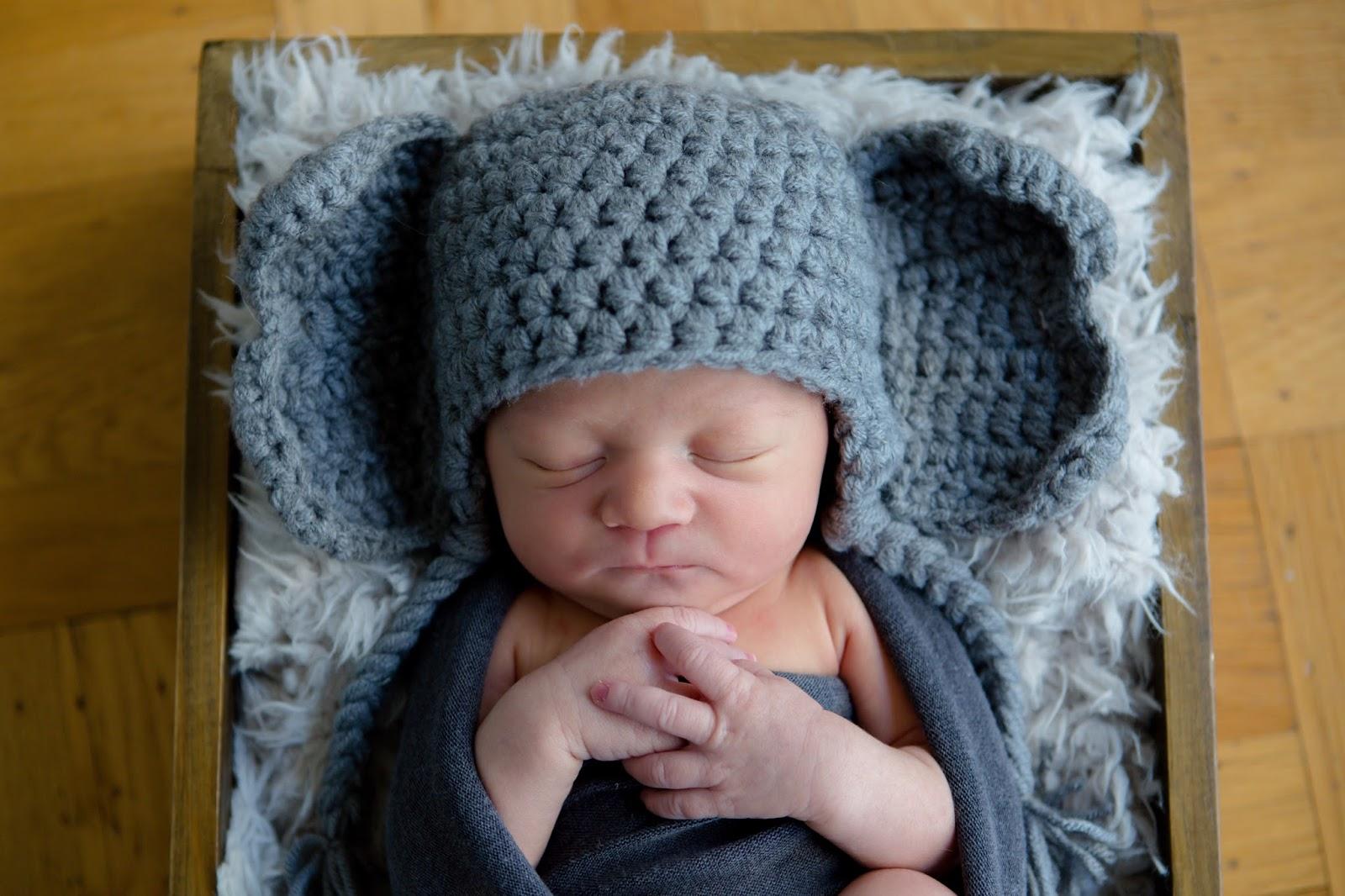 newborn baby boy swaddled and looks like elephant