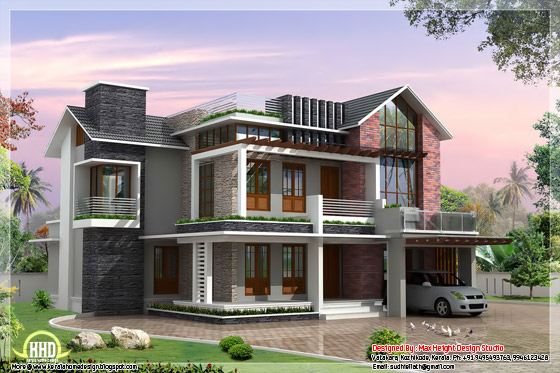 villa elevation 3d
