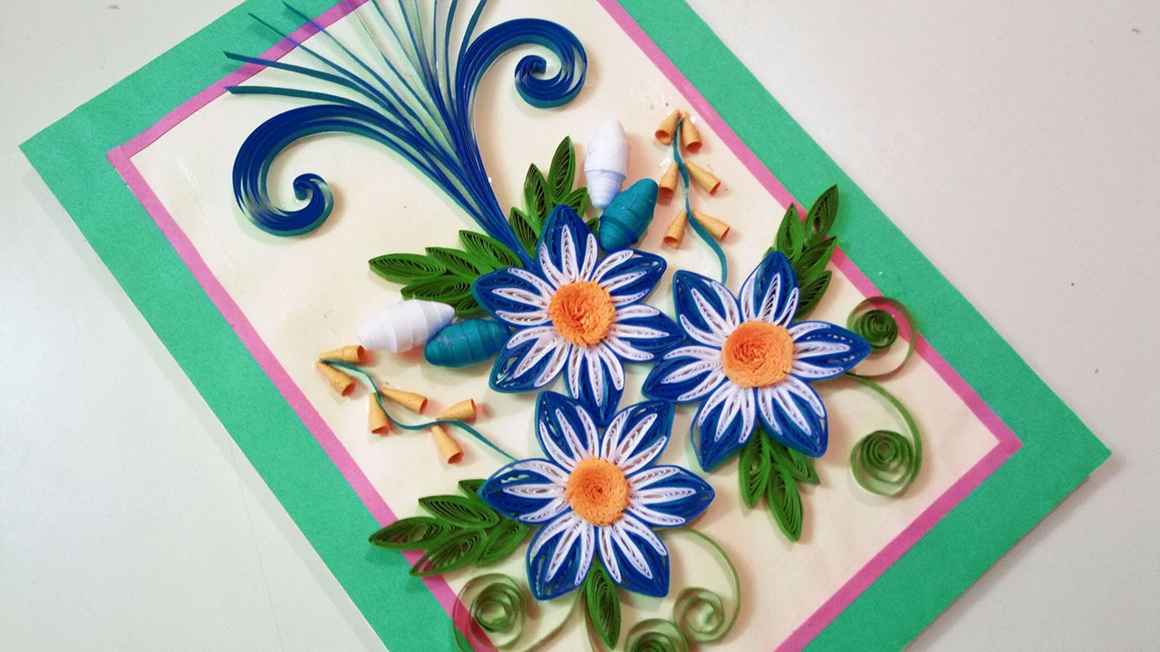 Quilling greeting card for birthday paper quilling art paper quilling greeting card for birthday paper quilling art kristyandbryce Choice Image