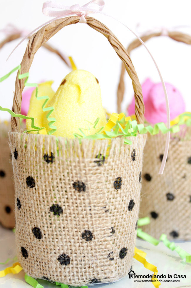 Easter Peeps baskets made of burlap ribbon