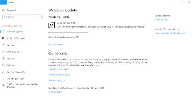 Cập nhật 27 tháng 6, 2017 - KB4022716 cho Windows 10 Phiên bản 1703 (OS Build 15063.447)