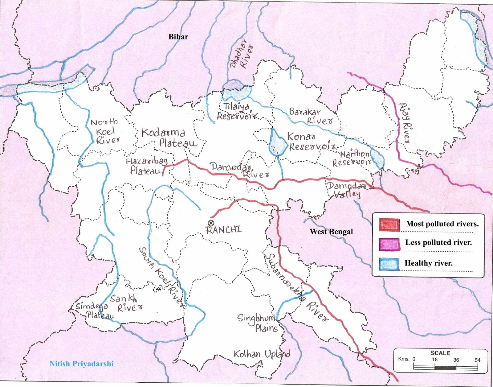 Worksheet. Environment and Geology Assessment of the health of Jharkhand Rivers