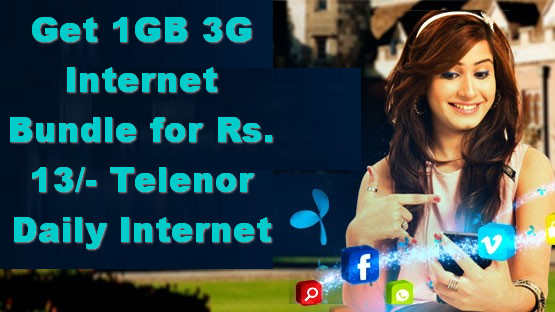 Get 1GB 3G Internet Bundle for Rs. 13/- Telenor Daily Internet