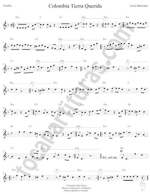 Cumbia Colombia Tierra Querida de Lucho Bermúdez Partitura Fácil con Acordes Easy Sheet Music