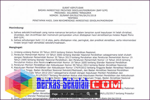 Nilai Akreditasi 2018 Tahap 1 Sulawesi Tenggara