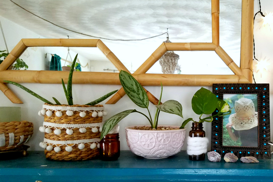 Bohemian Mantel Decorated With Pompom Basket Planter and Plants- Curated By The Boho Abode