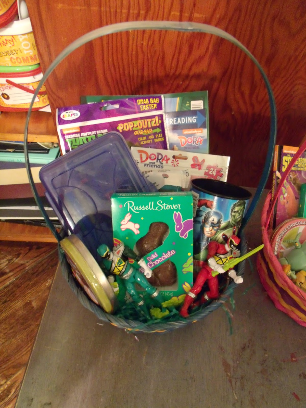 Sunday easter baskets with the kids and dinner with the grandparents rebecca received a small chocolate bunny a spongebob art kit new headbands a spongebob chapter book a cookie a spongebob cup with a few carrot shaped negle Images