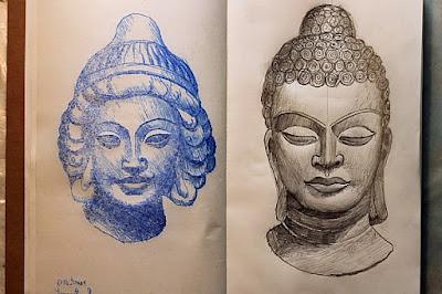 esquisse,dessin,sculpture,afghanistan,paris,carnet moleskine,musée guimet,inde,bouddha
