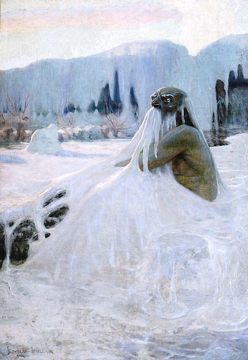 Vodnic, ancient Slavic water god, a 1902 painting by Jaroslav Panuska