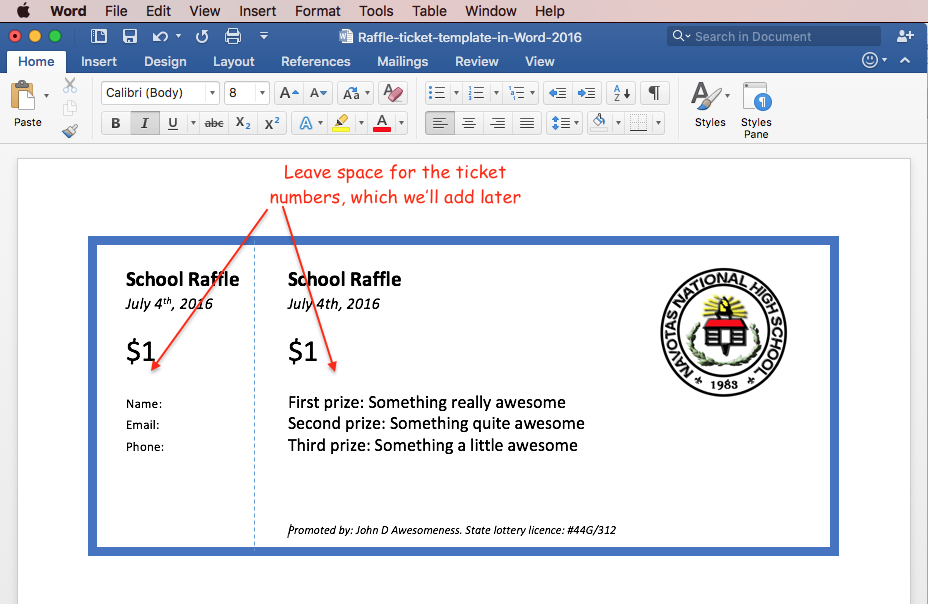 Print raffle tickets using a template in Office Word 2016 – Create a Ticket Template