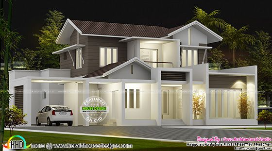 Beautiful 2100 sq-ft modern sloping roof home