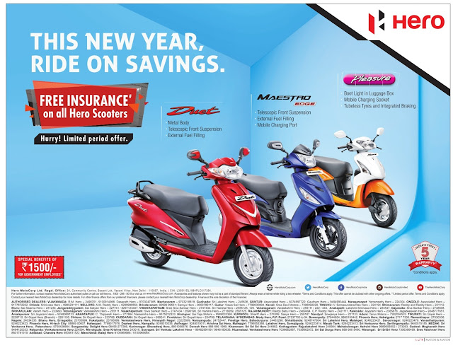 Free Insurance on all Hero Scooters | January 2017 Sankranthi festival discount offers