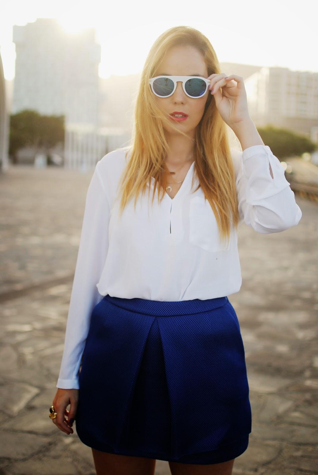 nery hdez, gafas de espejo, azul klein, blonde, wholesales celebshades, front row shop, neoprene skirt