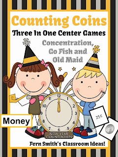 New Years Counting Coins Center Games and Interactive Notebook Activities