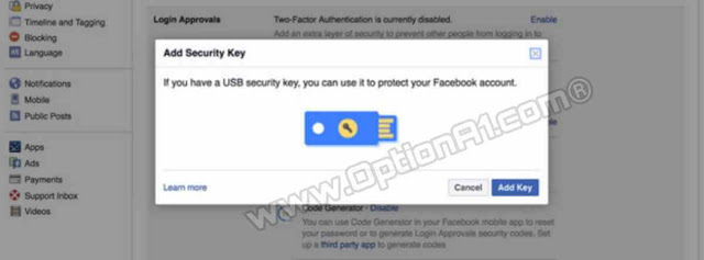 طريقة مفاتيح الأمان Security Keys لتأمين حساب فيس بوك من الاختراق عن طريق فلاشه flash memory