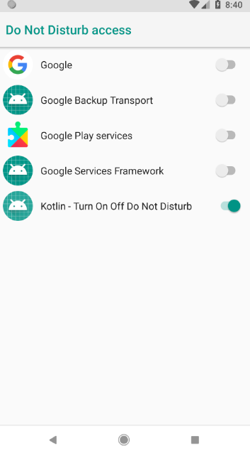 android kotlin - Turn on of do not disturb programmatically