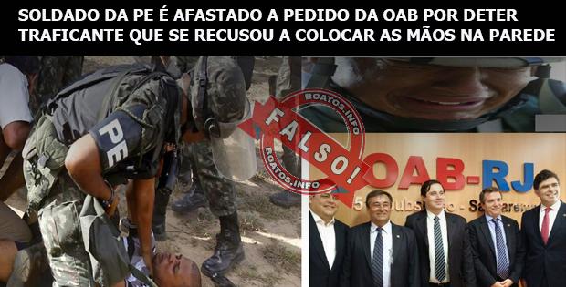 Soldado da Policia do Exército é afastado a pedido da OAB