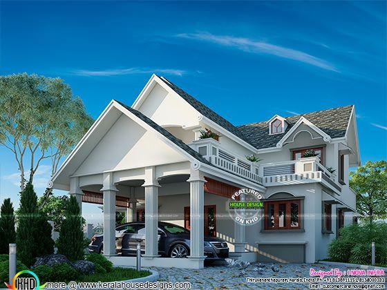 Graceful looking slope roof home plan