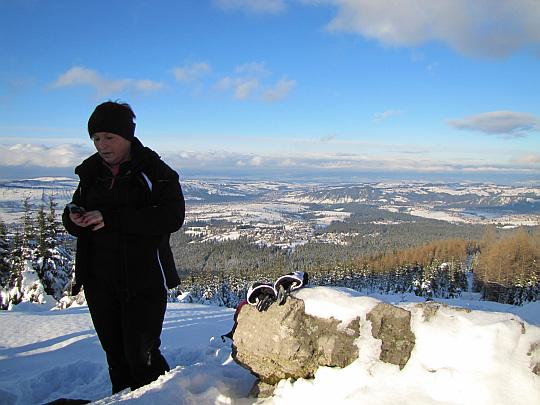 Na szczycie Kopieńca Wielkiego. Panorama na Kotlinę Orawsko-Nowotarską.