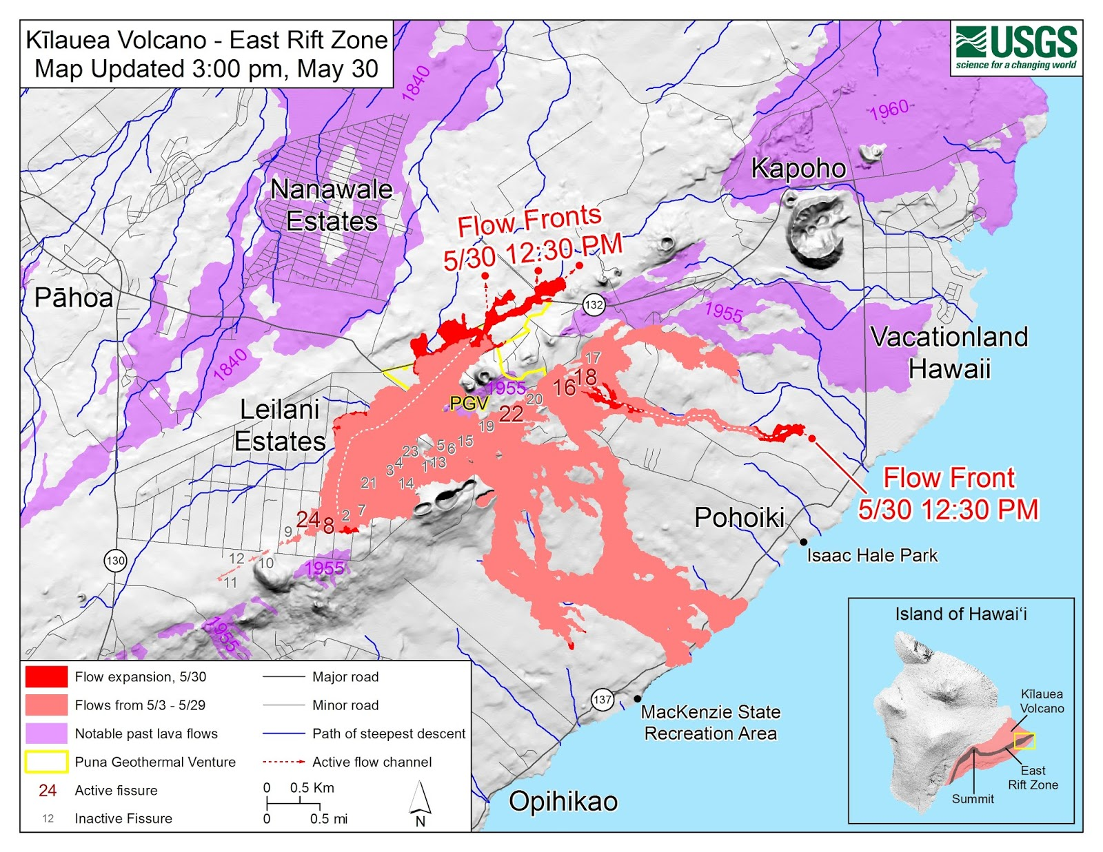 the usgs flow map and the relatively low level seismicity of the last 24 hours or so on the lerz lower east rift zone