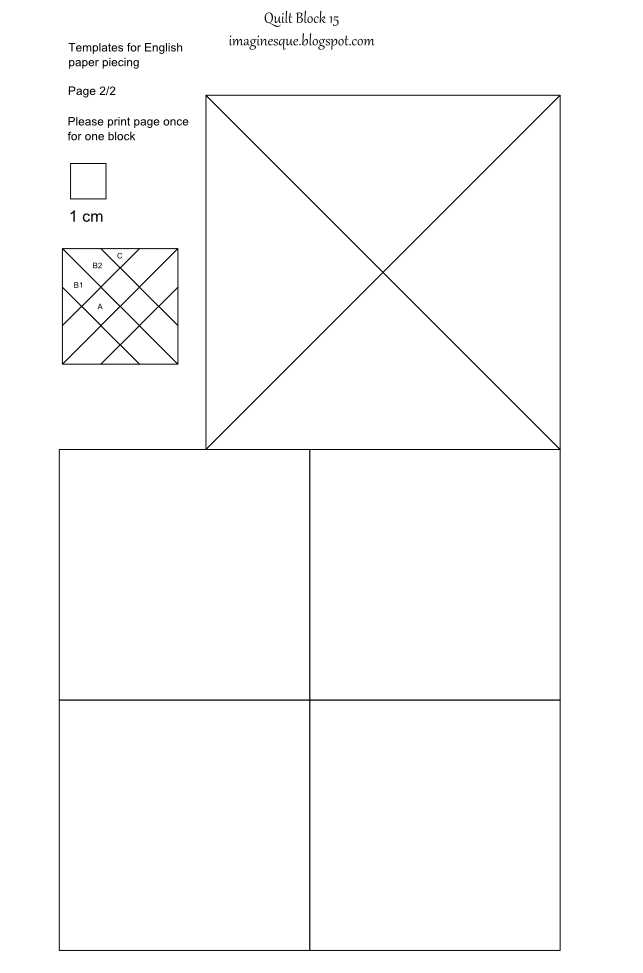 Imaginesque quilt block 15 templates for epp fabric for 4 blocker template